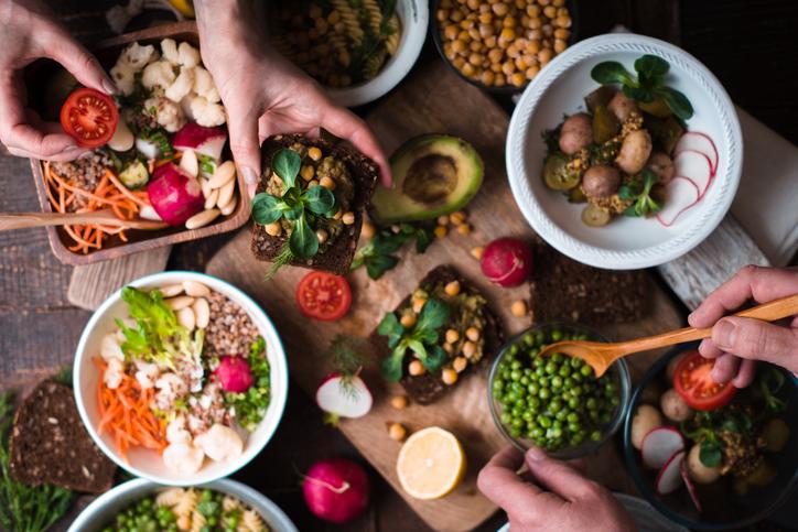 Välj vegetariskt!  Vegetarisk mat serveras.